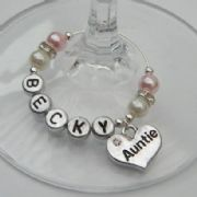 Auntie Personalised Wine Glass Charm - Elegance Style